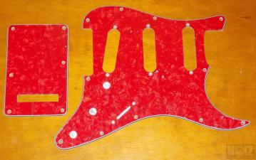 Red Tortoise Pearl 3ply Pickguards SSS